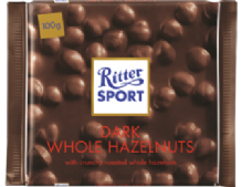 Ritter Sport Whole Hazelnuts In Dark Chocolate 100g
